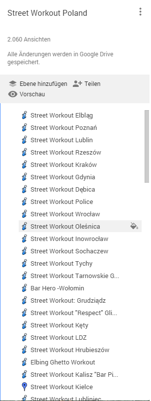 Auszug einer Liste mit einigen Calisthenics und Street Workout Teams in Polen